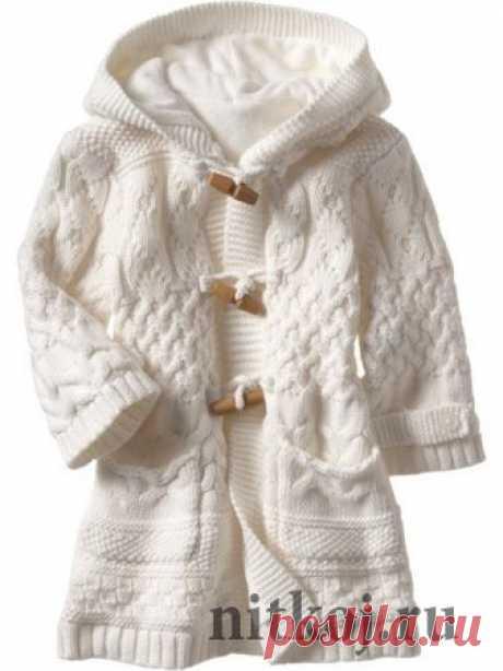 Вязаное пальто спицами для девочки » Ниткой - вязаные вещи для вашего дома, вязание крючком, вязание спицами, схемы вязания