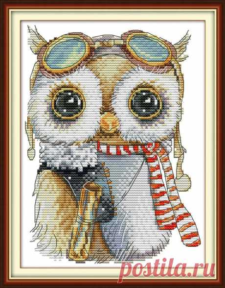 2 Funny Owl Cross Stitch Kits Modern Owl Embroidery Kits with | Etsy