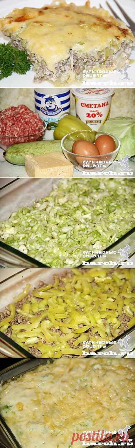 Кабачковая запеканка с мясным фаршем и капустой по-флотски | Харч.ру - рецепты для любителей вкусно поесть