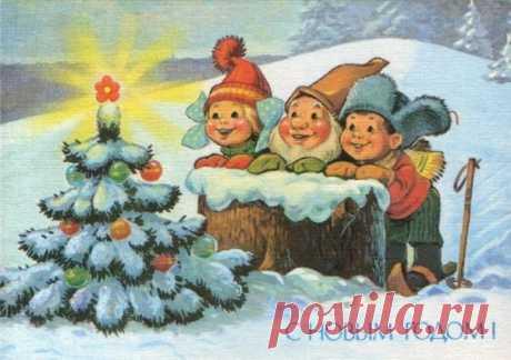 30 старых новогодних открыток, которые напоминают детство... ❤ ↪