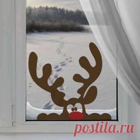 Новогодний трафарет на стеклянные двери и окно