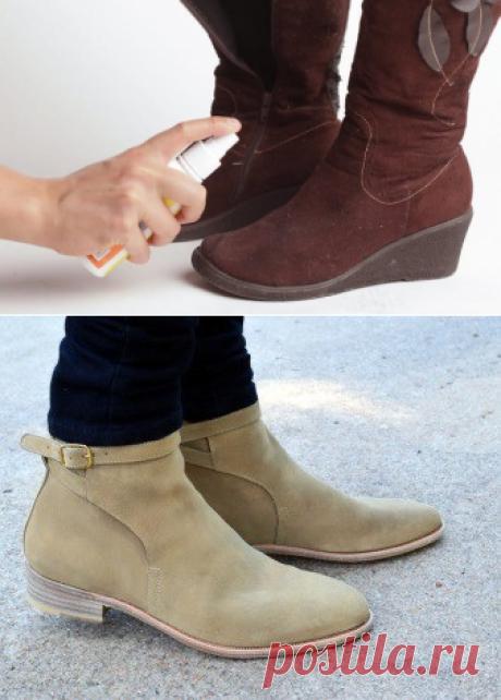 Как восстановить замшу: краска для замшевой обуви