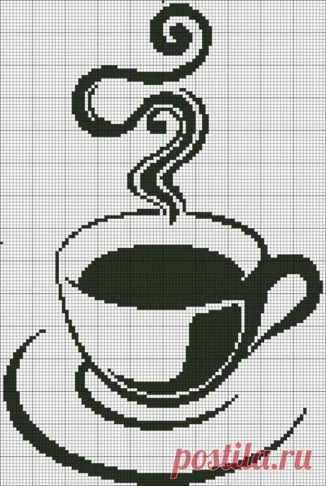 «Вышивка Чашка кофе, монохром.» — карточка пользователя Лариса Ямнюк (Т) в Яндекс.Коллекциях