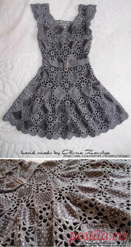>Платье-восторг из кусочков ткани и ажурных мотивов...