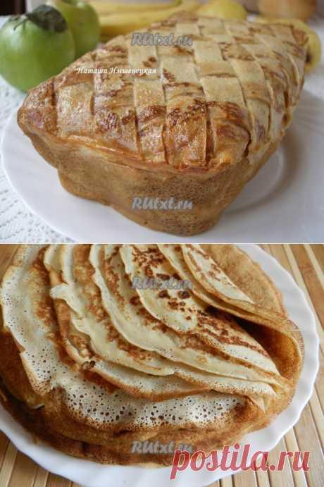 Блинный пирог с грибами и мясом, как альтернатива обычным блинчикам с мясной начинкой..