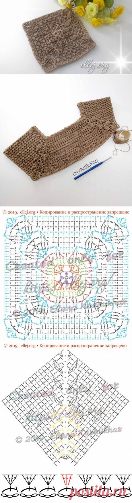 Реглан с рельефом • Мотив с листиками | Вязание крючком от Елены Кожухарь
