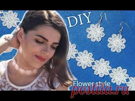 DIY: beaded wedding flower ✿ style jewelry / Свадебный набор из бисера в цветочном стиле