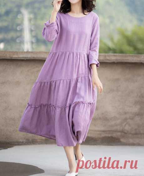 Purple linen maxi dress cupcake Dresses skater dress womens   Etsy