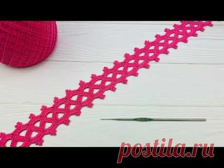Простое ЛЕНТОЧНОЕ КРУЖЕВО вязание крючком для начинающих  ТРОЙНОЕ ПИКО Easy to Crochet Lace Ribbon