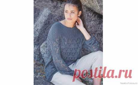 Ажурный пуловер с кокеткой. Описание | Вязание для женщин спицами.