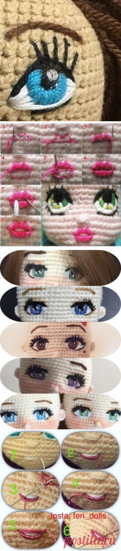 Вышиваем красивое личико для куколки из категории Интересные идеи – Вязаные идеи, идеи для вязания