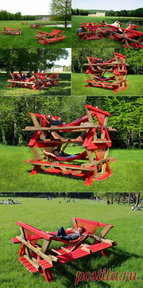 Мебель для сада: стол гамак от французской дизайн студии Encore Heureux
