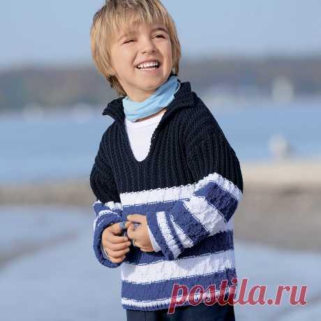 Детский пуловер с рельефным и фантазийным узорами - схема вязания спицами. Вяжем Пуловеры на Verena.ru