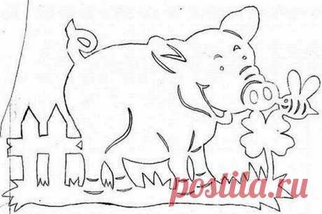 Трафареты на Новый 2019 год Свиньи на окно для вырезания из бумаги формата А4, шаблоны к Новому году, снежинки, узоры распечатать