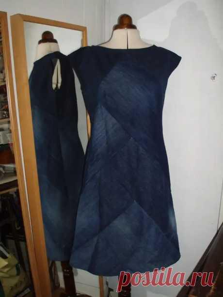 Эффектное платье из денима. Достойная идея переработки джинсы - Идеи для жизни - медиаплатформа МирТесен
