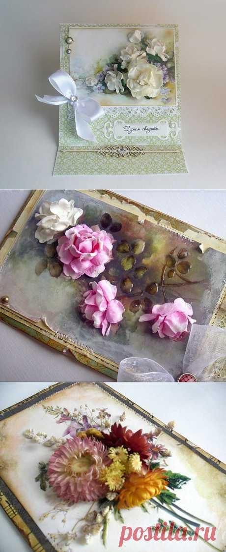 Открытка с объемными цветами .