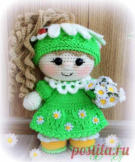 Пупс-малышка Ромашка амигуруми. Схема вязания.