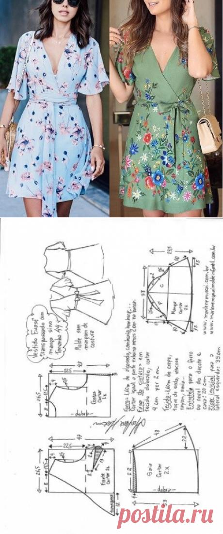 Vestido evasê transpassado com manga sino   DIY - molde, corte e costura - Marlene Mukai