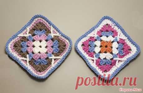 Красивый бабушкин квадрат с рельефными столбиками Предлагаю связать обычный бабушкин квадрат с рельефными столбиками. Для образца я использовала пряжу Yarn Art Jeans 4-х разных цветов и крючок № 2. Сторона моего мотива = 9 см.