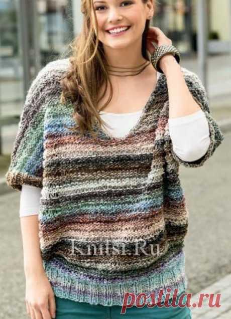 Пулундер V-образного силуэта. Вязание для женщин / Пуловеры / Спицами