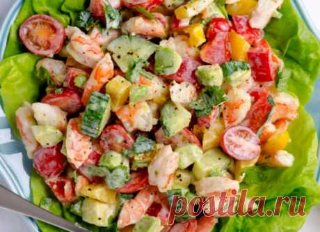 Салат из авокадо с креветками под греческим йогуртом рецепт с фото пошагово - 1000.menu