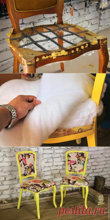Как заменить обивку и покрасить стулья