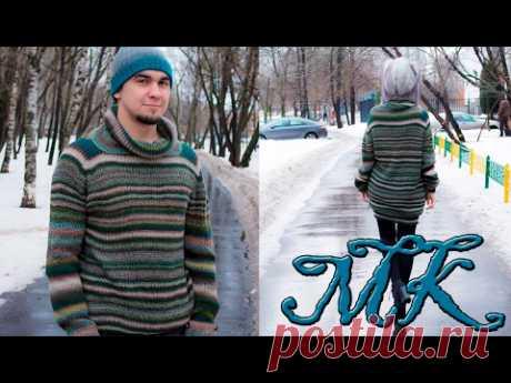 Как вязать уютный свитер с рукавом погоном спицами ☼ ВЯЗАНИЕ СПИЦАМИ ☼ МК свитера