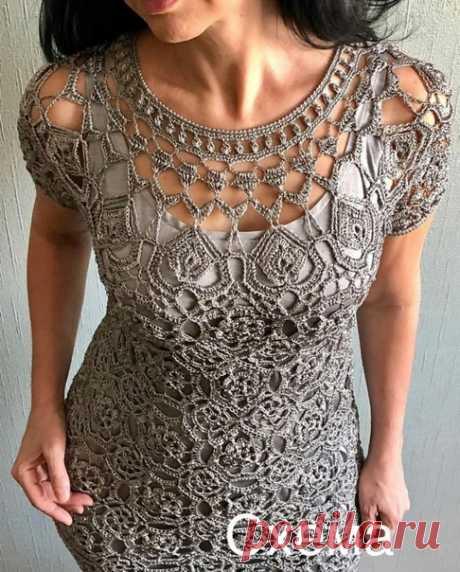 #вязаное_платье@modnoe.vyazanie Эффектное платье крючком. Схема.