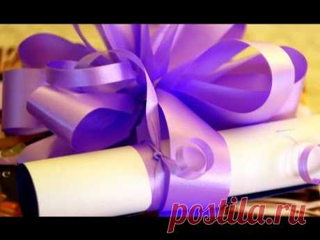 2016 Easy Christmas gift decoration. How to pack a gift! Tutorial. Ribbon Bow. - YouTube