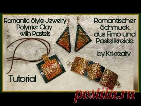 Romantic Style Jewelry , Polymer Clay with Pastels, Tutorial. Romantischer Schmuck,