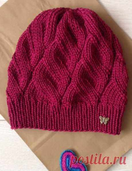 Красивый узор для вязания шапки спицами: схема и описание | Шапки спицами