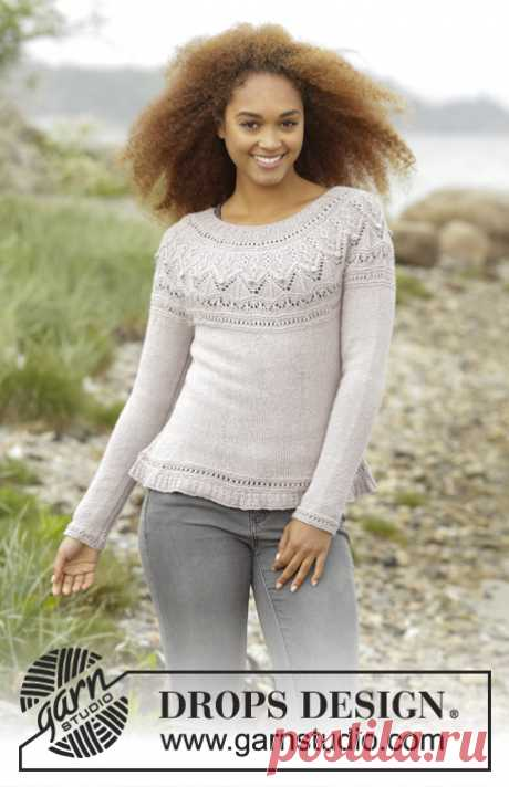 """Crystal Bright / DROPS 171-51 - Free knitting patterns by DROPS Design Knitted DROPS jumper with round yoke and textured pattern on yoke in """"BabyAlpaca Silk"""". Size: S - XXXL."""