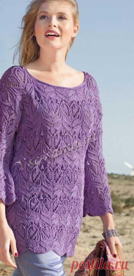 Длинный фиолетовый пуловер с ажурным узором спицами!