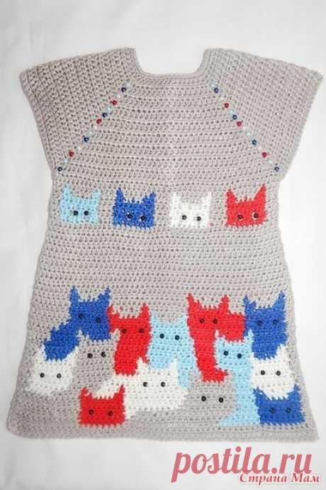 La túnica con las gatas para la muchacha. - la labor de punto - el País de las Mamás