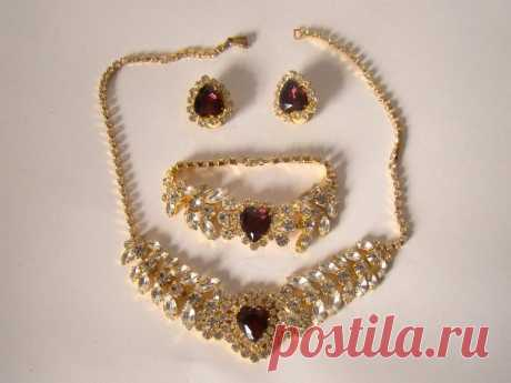 Vintage Formal Costume Jewelry set of Czech Glass Earrings | Etsy