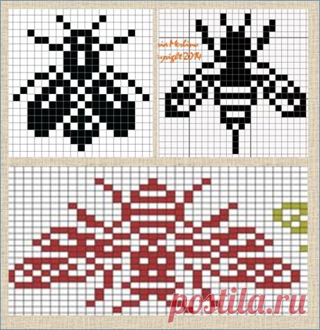 100 схем жаккардовых узоров с разными насекомыми - большая подборка | ЖАККАРДос | Яндекс Дзен