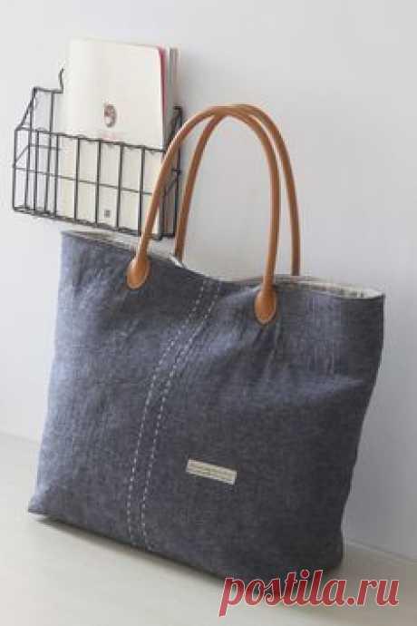 TOTE BAG/ Shoulder bag/ Shop bag/ Market bag/ Jean Blue…