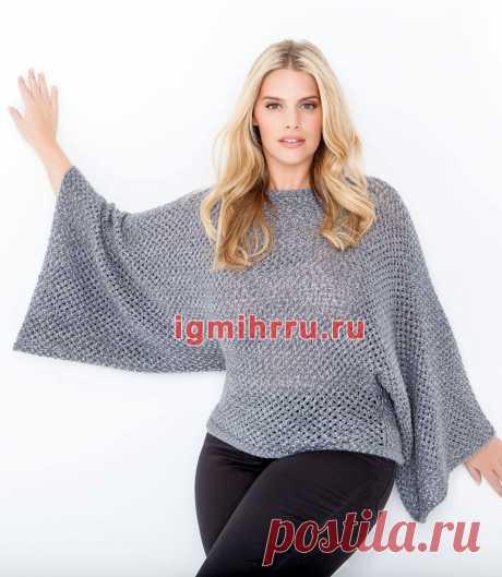 Для полных дам. Серый объемный пуловер с цельновязаными рукавами. Вязание спицами со схемами и описанием