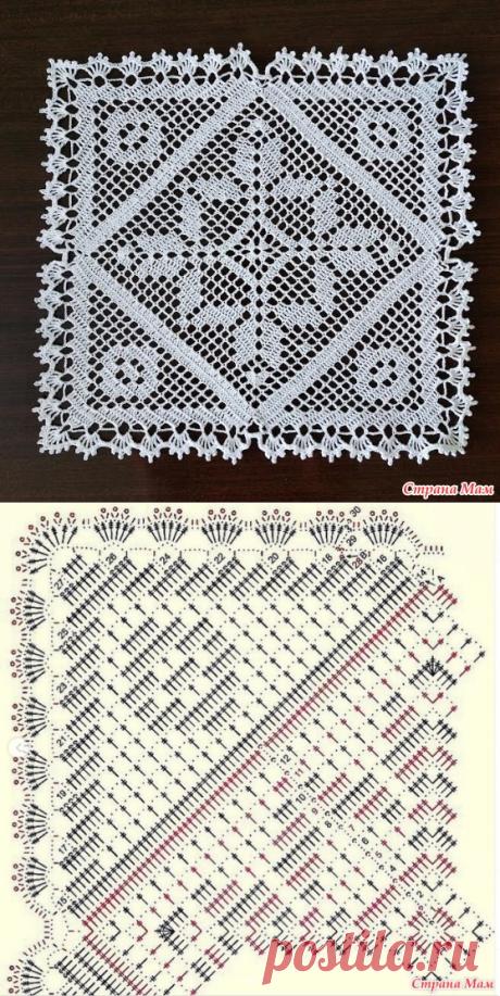 Квадратная салфетка крючком - Вязание - Страна Мам
