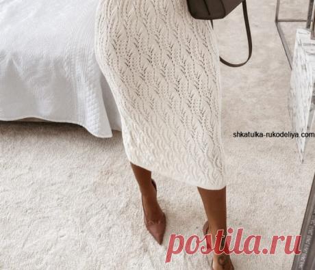Белая ажурная юбка узором хвост дракона. Необычный узор спицами подробный мастер класс | Шкатулка рукоделия. Сайт для рукодельниц.