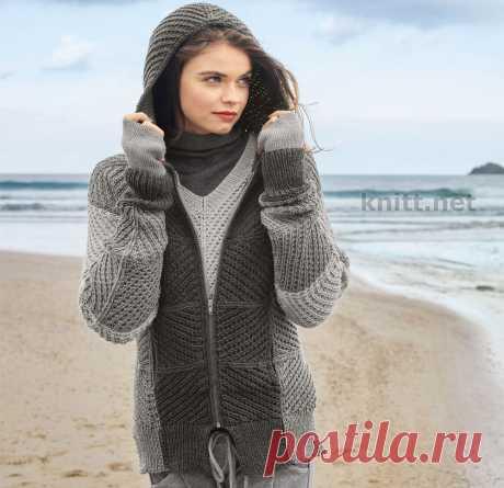 Вязаная кофта с капюшоном и пуловер спицами