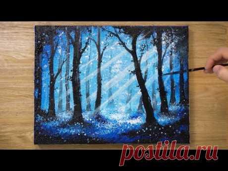 Голубой лес на рассвете / Техника рисования пленок OHP # 457