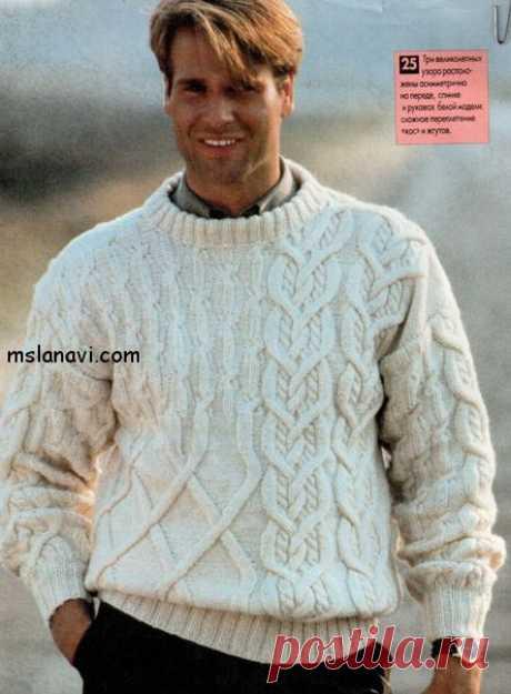 Белый вязаный пуловер для мужчин | Вяжем с Лана Ви