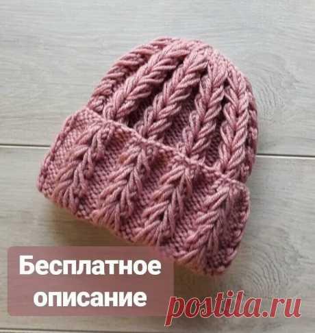 Оригинальная шапочка спицами
