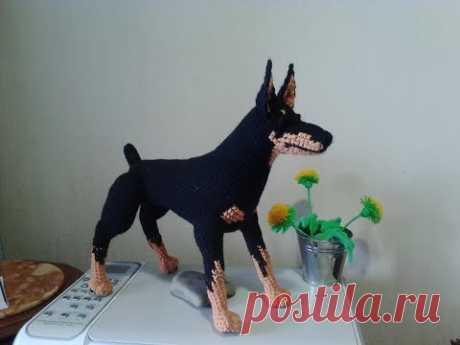 Dobermann terrier, p. 3. Dobermann, river 3. Amigurumi. Crochet. Amigurumi. Toys hook.