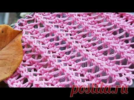 Вяжем воздушную сеточку с эффектом гофры 🍂 knitting pattern.