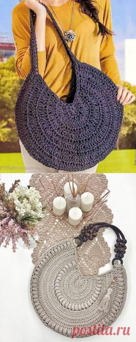 Круглые сумки - 26 схем и описания для вязания ленточной пряжей и не только