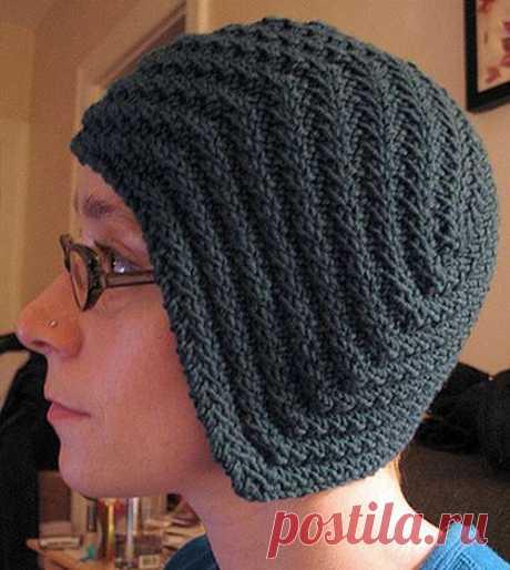 Спокойное вязание и не только...: Оригинальная шапка спицами укороченными рядами