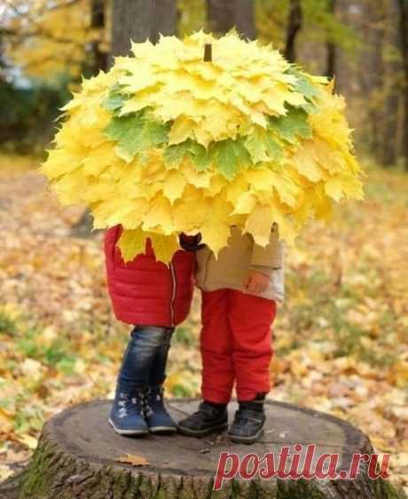 Зонтик из листьев. Как вам?