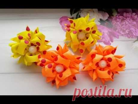 Яркие летние бантики из репса МК Канзаши / Bright bows from reps / Brilhante laços de fitas